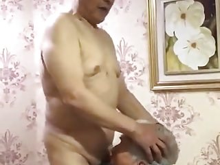 two old men are having fun