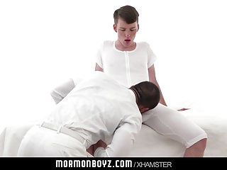 Muscle daddy priest leader barebacks Mormon boy in rirual