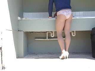 Pantyhose at public wash area .