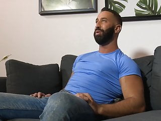 Greek stud Lex Anders tweaks his nipples while jacking his c