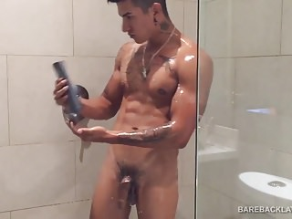 Young Buff Latino Erick Shower Jacking