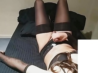 Zoya crossdresser plays and cums