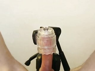 Fleshlight fucking milks my swollen cock