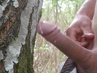 Uncut with strong erection and a huge cumshot