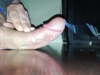 Uncut throbbing creamy cum close up