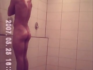 cute hotie caught spycam voyeur showers locker