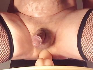 My in stockings riding big dildo stretching my ass