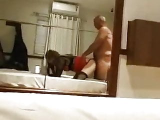 Crossdresser Fucked Doggy by Daddy in Hotel Room