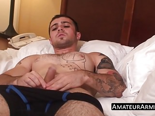Slutty twink jacks off his hairy cock with passion