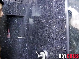 Nasty cock sucker Jasper Robinson wanks in the shower solo