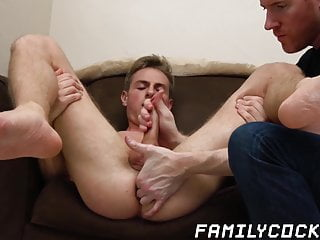 Pretty twink fingered and jerked off by stepdad