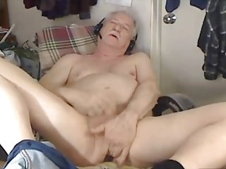 Adorable grandpa is masturbating