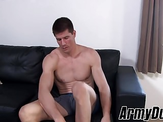 Sexy ass soldier Jake Bane loves to jack off at home