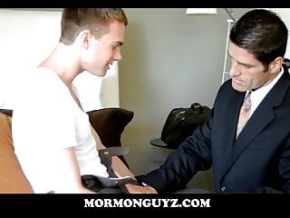Blonde Nerdy Twink Mormon Boy Jerks Off In Front Of Leader